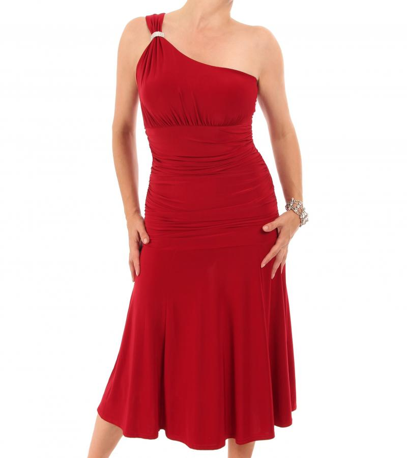 Red Crystal Diamante One Shoulder Cocktail Dress