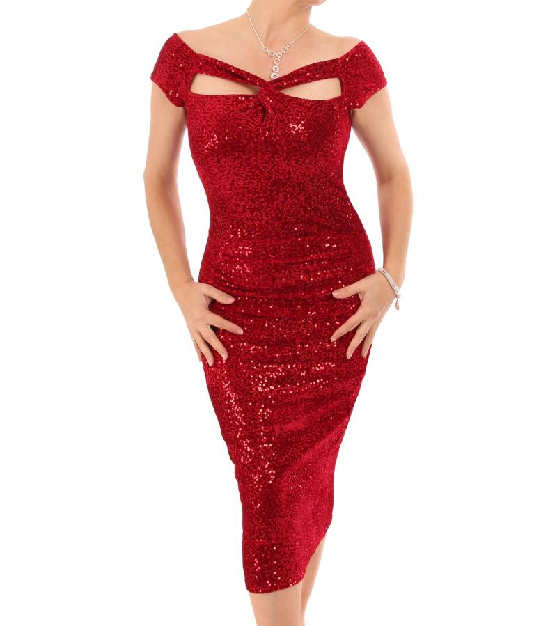 Red Velour Sequin Cut Out Cocktail Dress