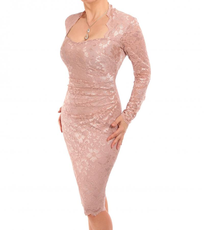 Oyster Pink Sweetheart Lace Dress