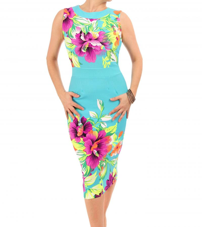 Turquoise and Pink Floral Shift Dress