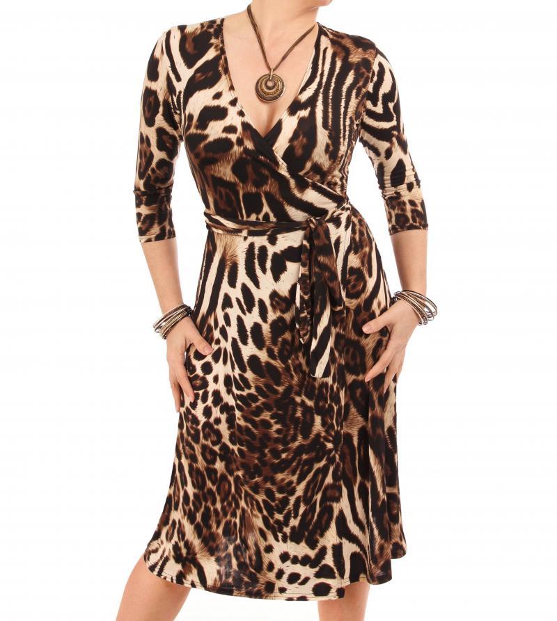 Animal Print Wrap Dress