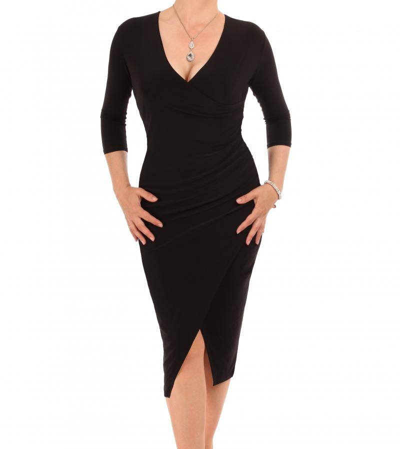Black Three Quarter Sleeve Mock Wrap Dress