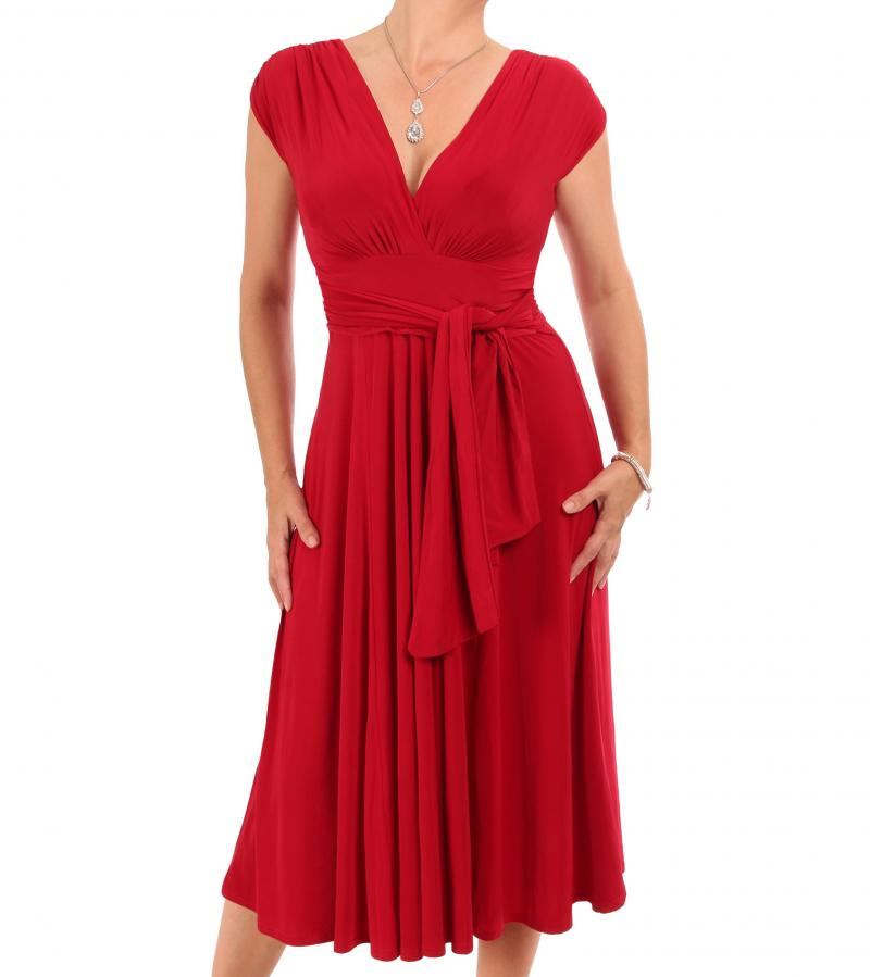 Red V Neck Fit and Flare Dress