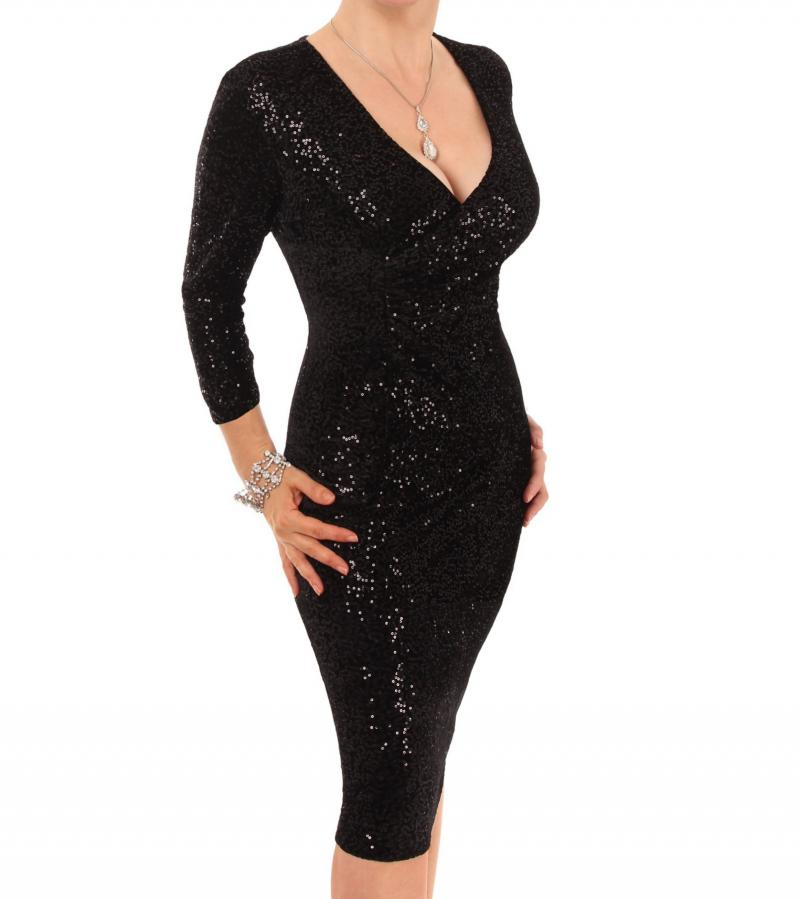 Black Velour Sequin Knee Length Dress