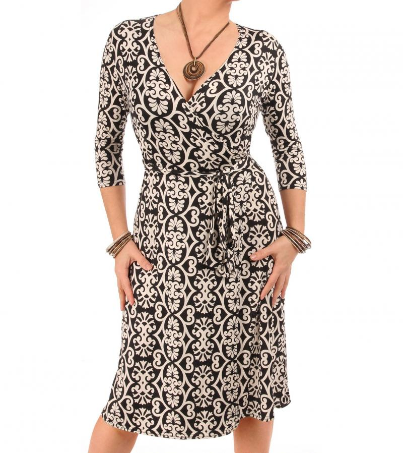 Black and Ivory Printed Wrap Dress