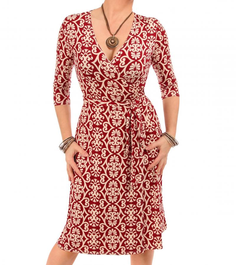 Wine and Ivory Printed Wrap Dress