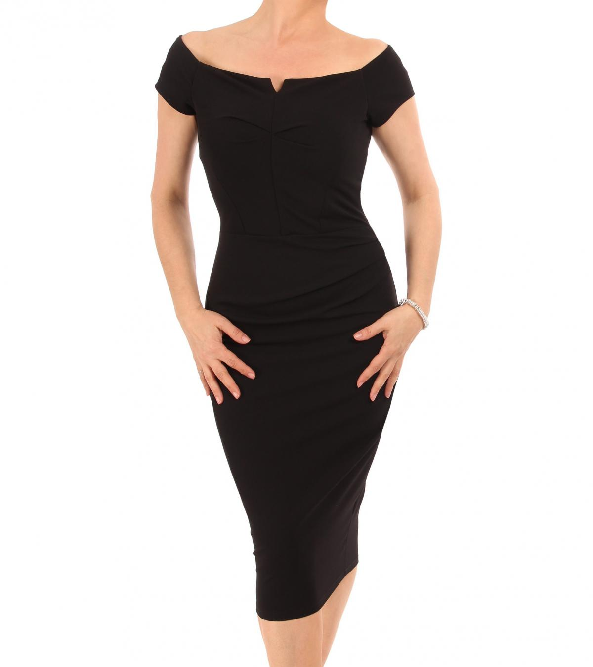 Black Bardot Style Notch Dress