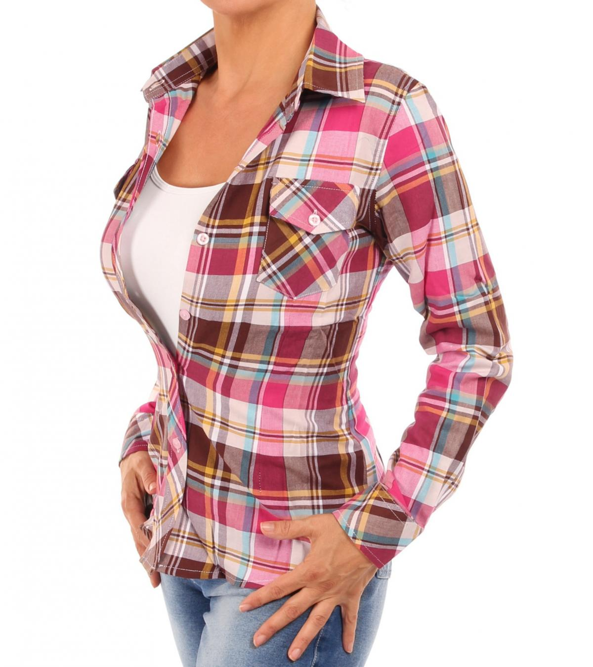 Pink and Brown Checked Shirt