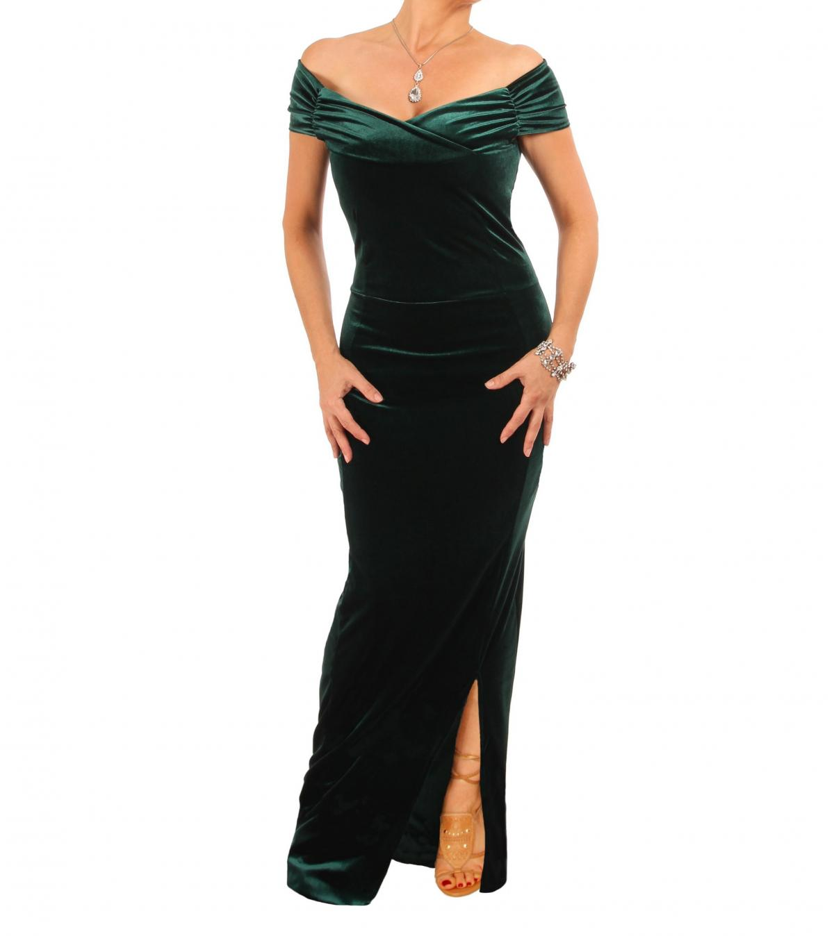 Emerald Green Velour Bardot Maxi Dress