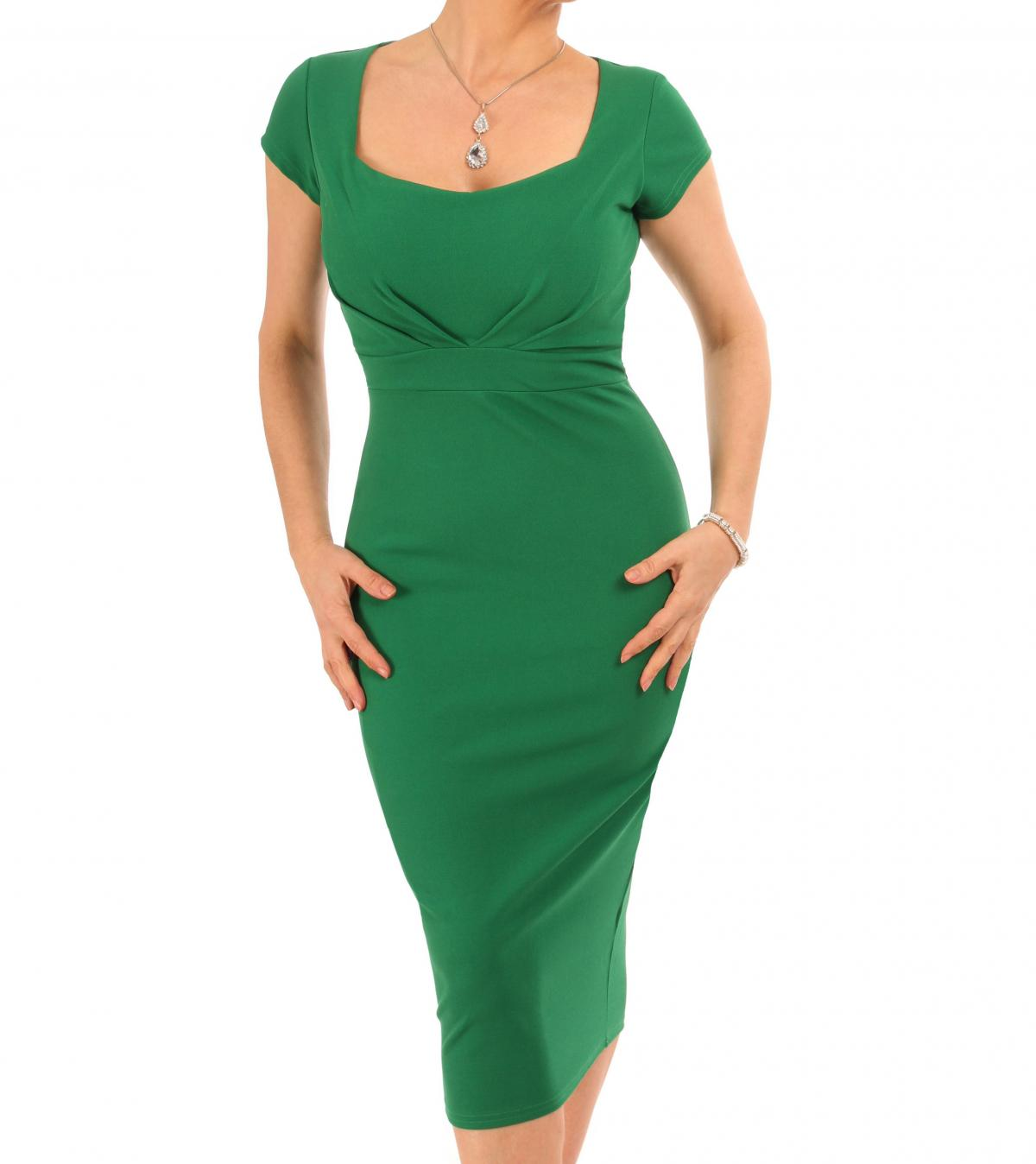 Emerald Green Pleat Detail Midi Dress