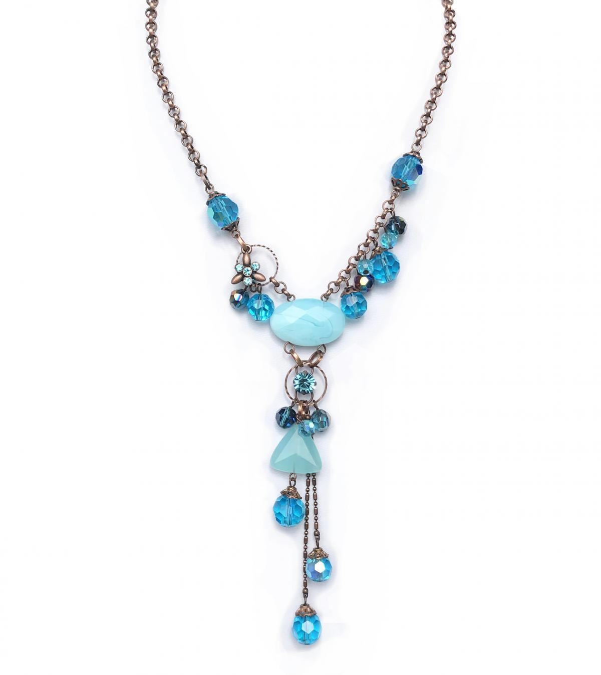Blue Vintage Style Statement Necklace