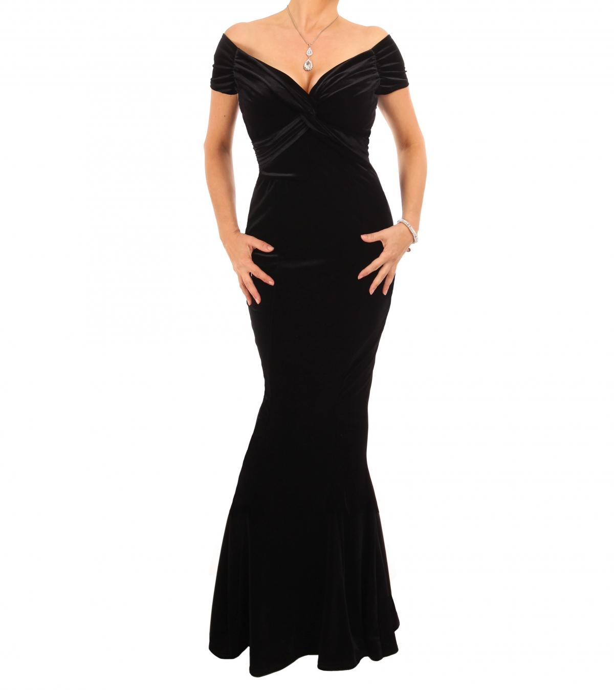 Black Velour Bardot Maxi Dress