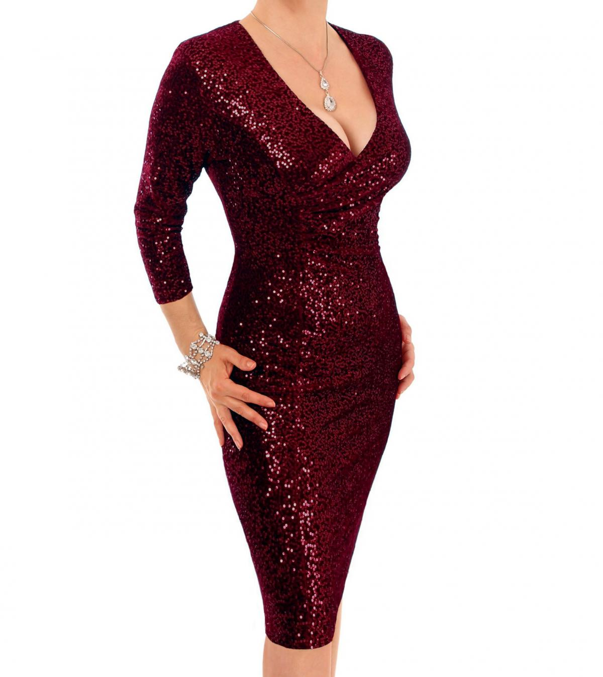 Wine Velour Sequin Knee Length Dress