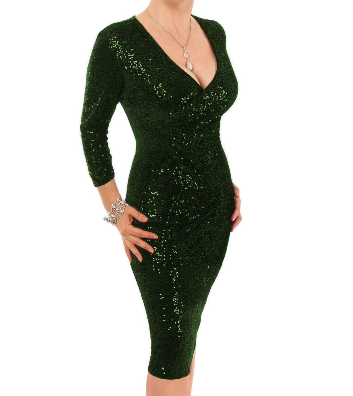 Bottle Green Velour Sequin Knee Length Dress