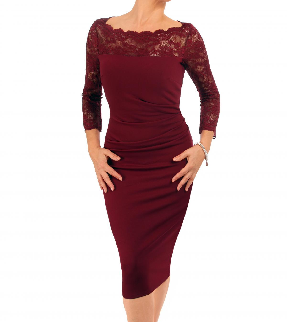 Wine Lace Detail Ruched Dress