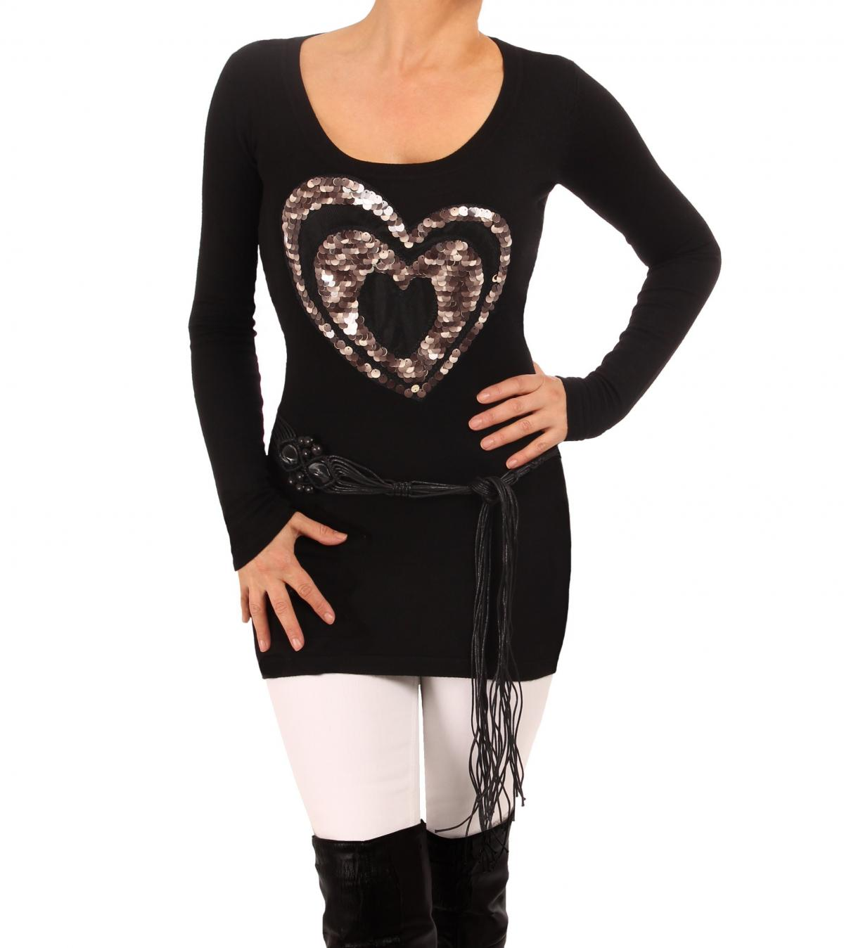 Black and Silver Grey Heart Detail Jumper