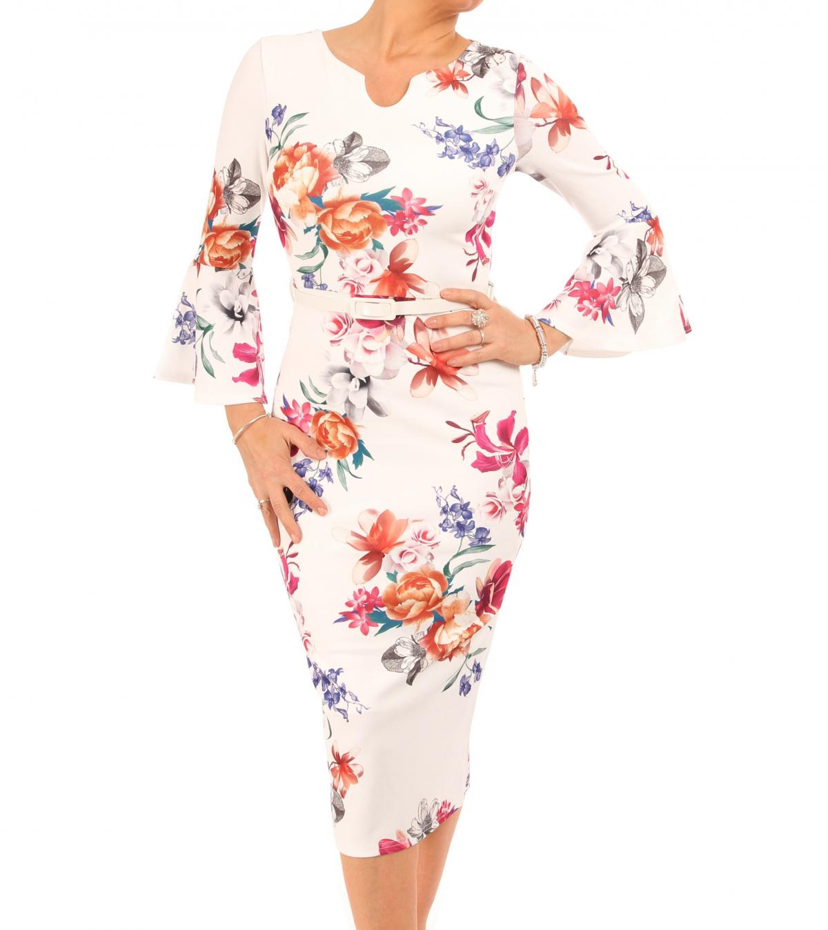 Ivory Floral Bell Sleeve Pencil Dress
