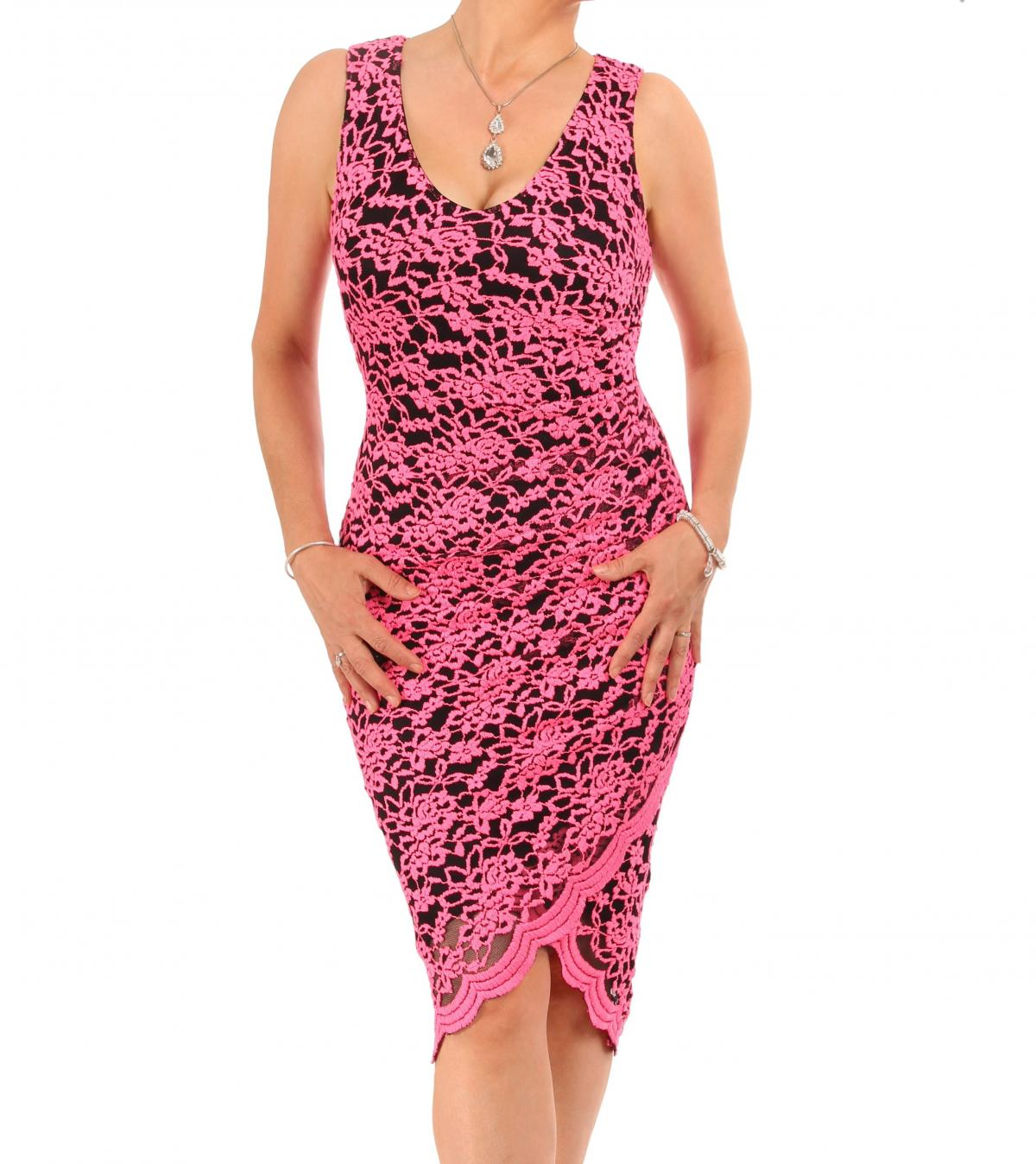 Cerise Pink Lace Ruched Dress