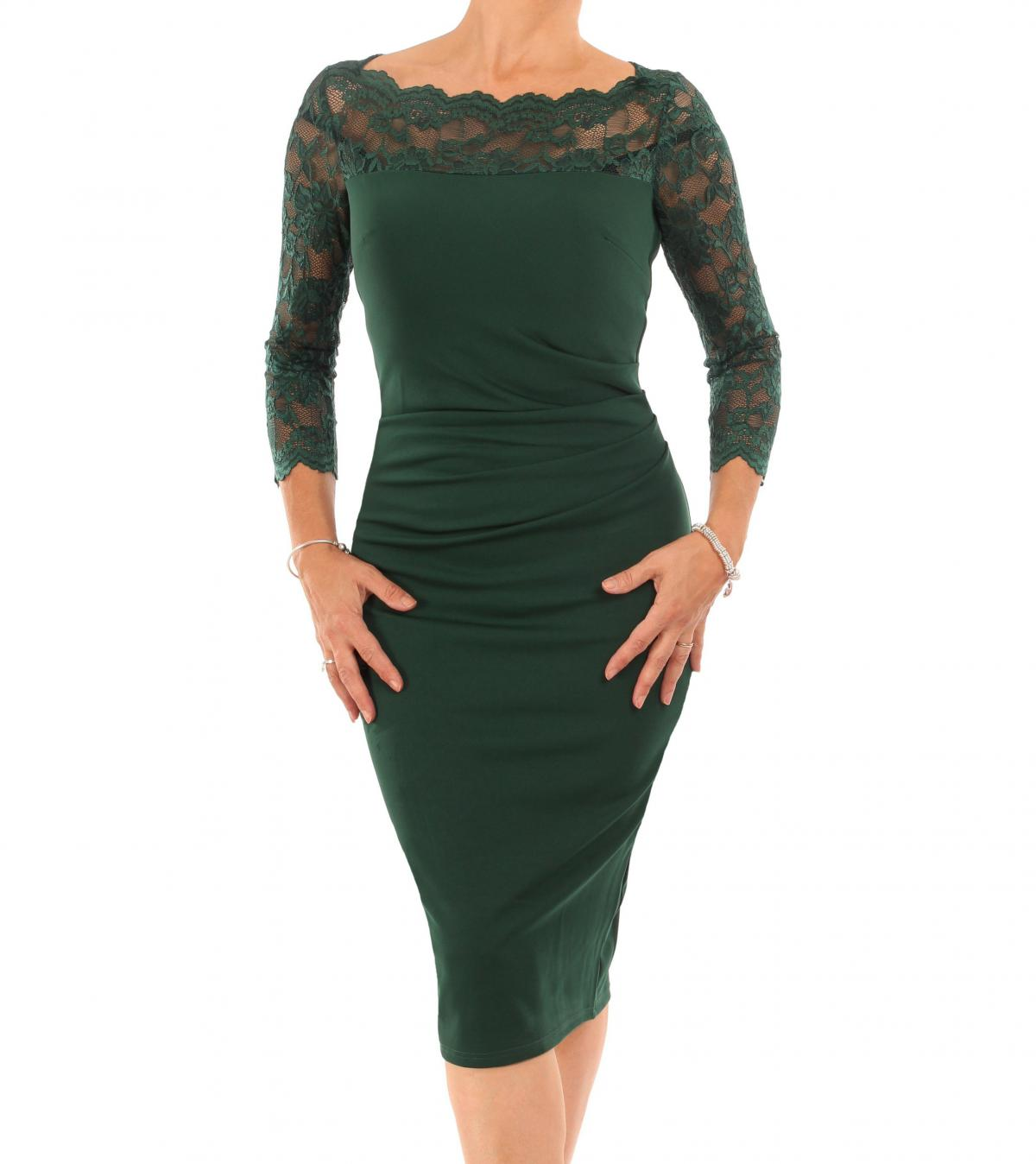 Forest Green Lace Detail Ruched Dress